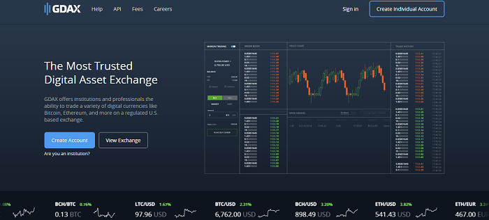 GDAX home page