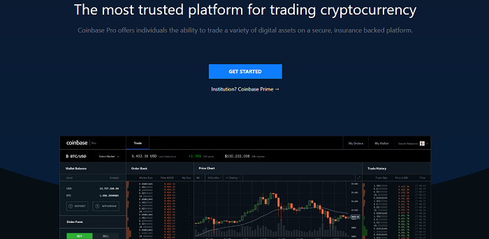 GDAX frontpage